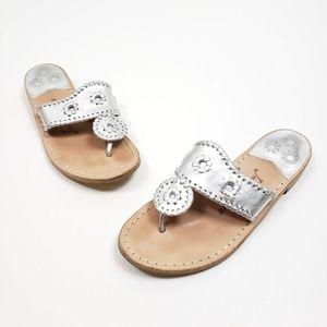 Jack Rogers Silver Metallic Flat Sandal SZ 6